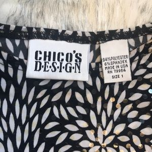 Chico's Tops - Chico's B&W Shimmery Top 3/4 Sleeves EUC